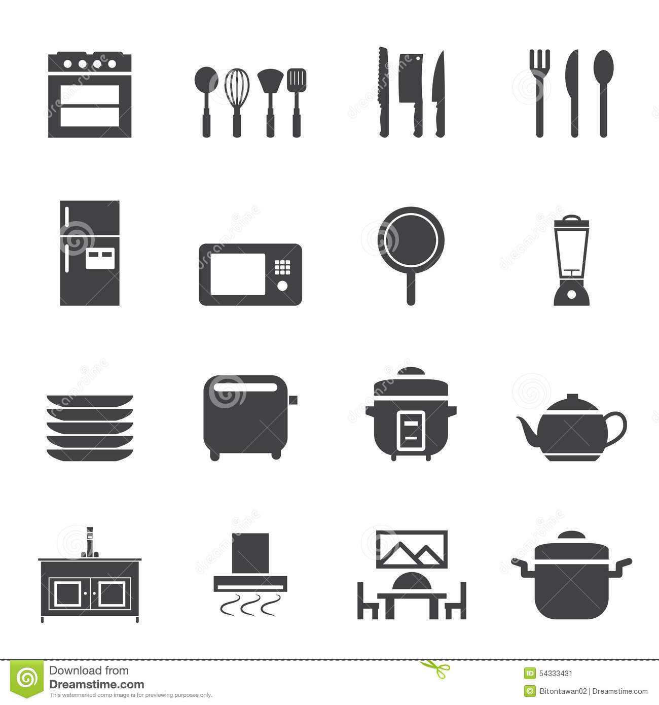 Kitchen room icon set stock vector image 54333431 for Kitchen set vector