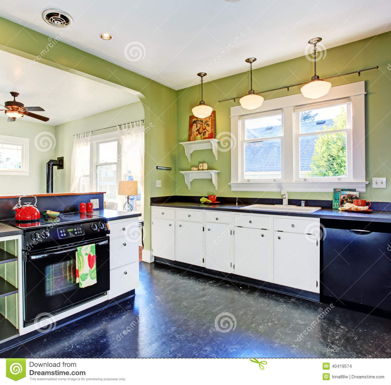 Black Kitchen Appliances With White Cabinets: Kitchen Room Interior Stock Photo