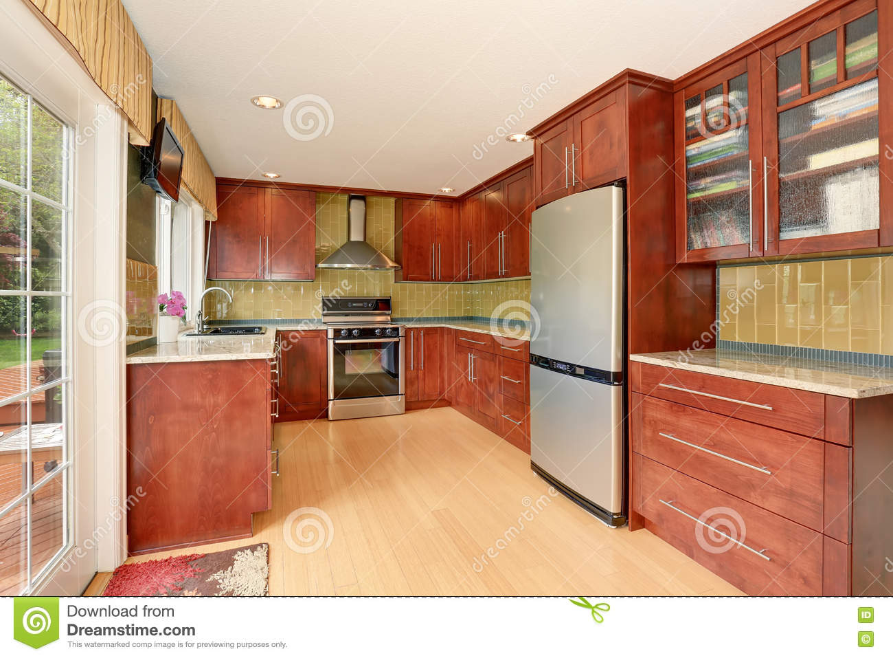 kitchen room interior kitchen room interior with modern brown cabinets and light 13771