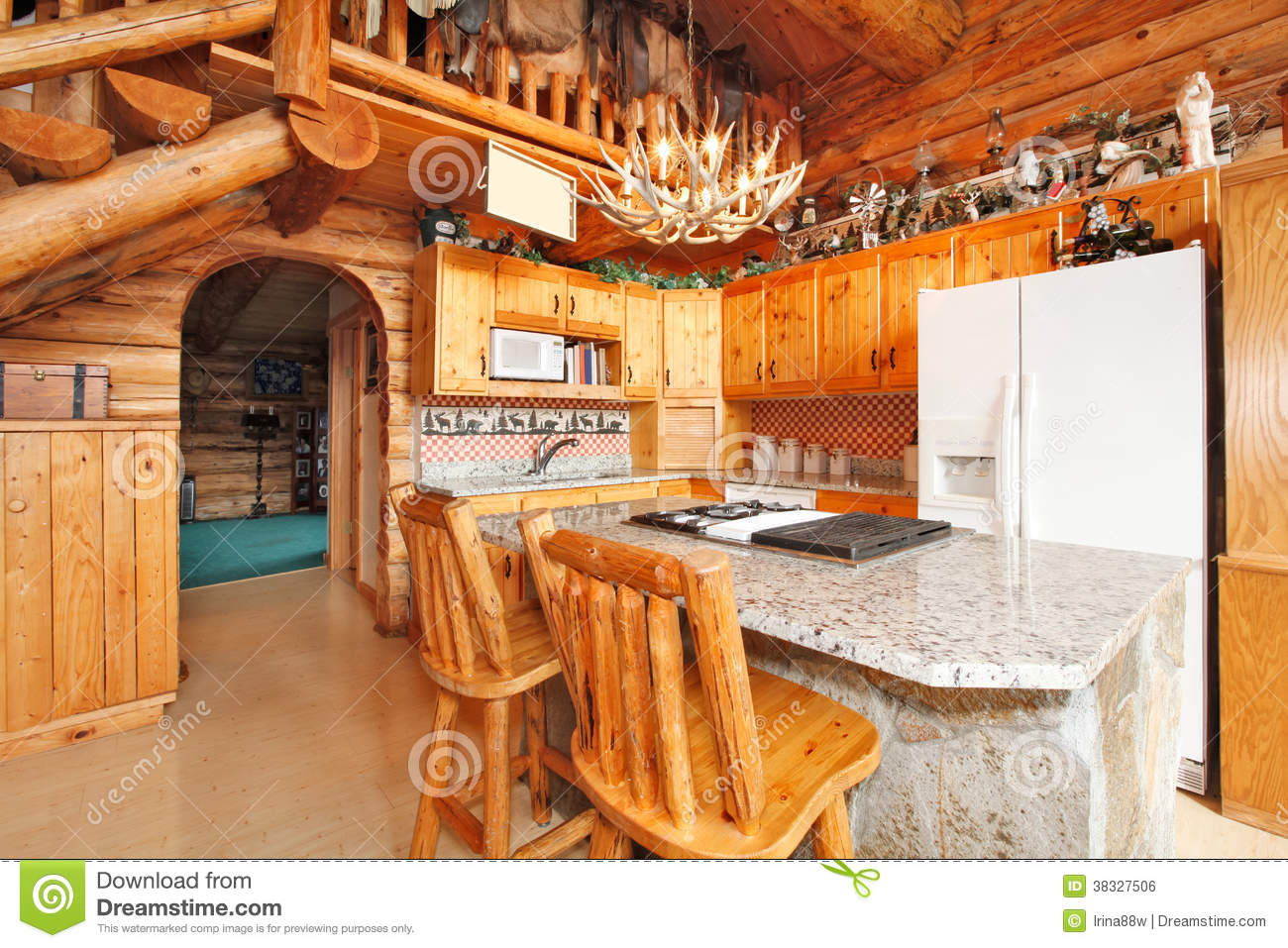 Kitchen Room In Log Cabin House Royalty Free Stock Image