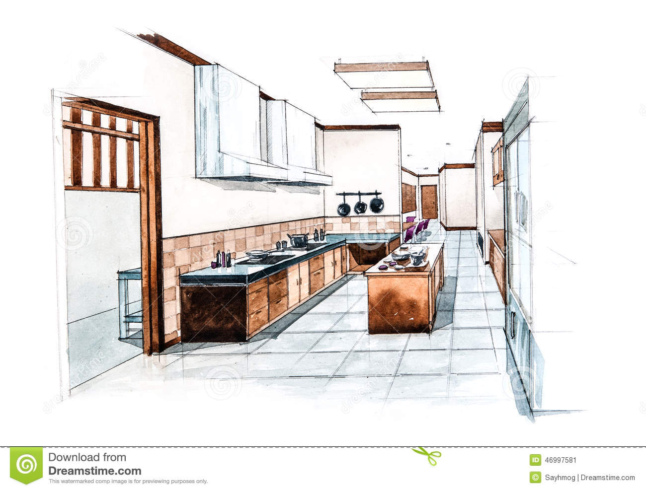 Stock Illustration: Kitchen room for restaurant design of watercolor  #82A229 1300 989