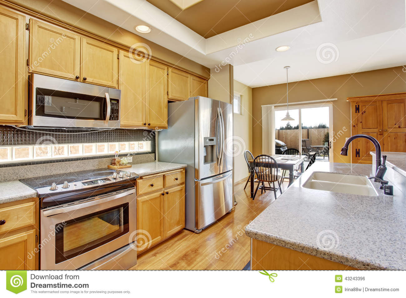 Kitchen Room With Skylight And Dining Area Stock Photo