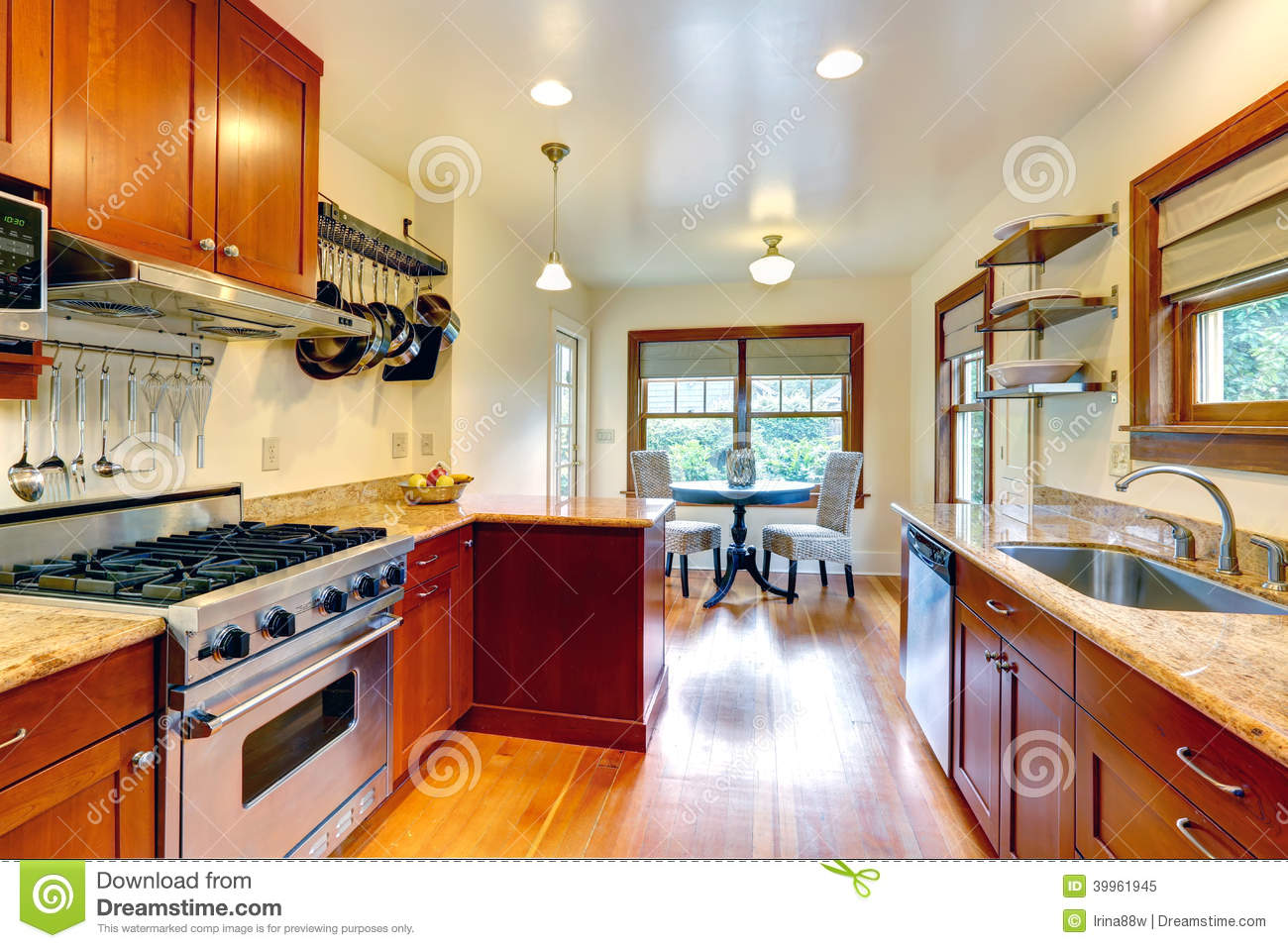 Kitchen room with small dining area stock photo image for Small kitchen with dining area