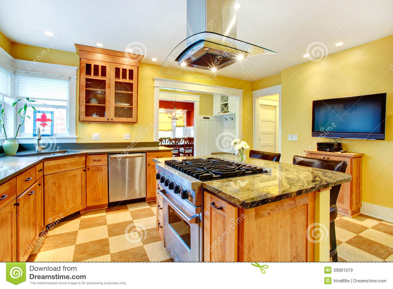 Kitchen Room With Tv Stock Photo Image 39901079