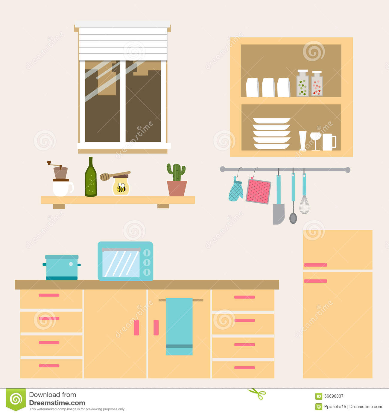 Kitchen Cabinet Clip Art: The Kitchen Room Vector Stock Vector. Illustration Of