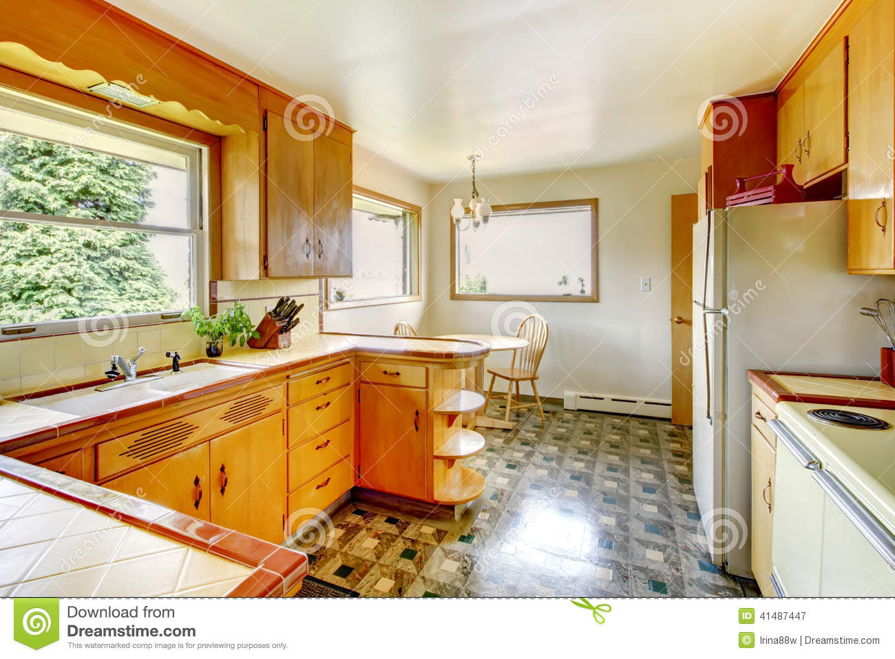 Kitchen With Rustic Storage Cabinets Stock Photo Image