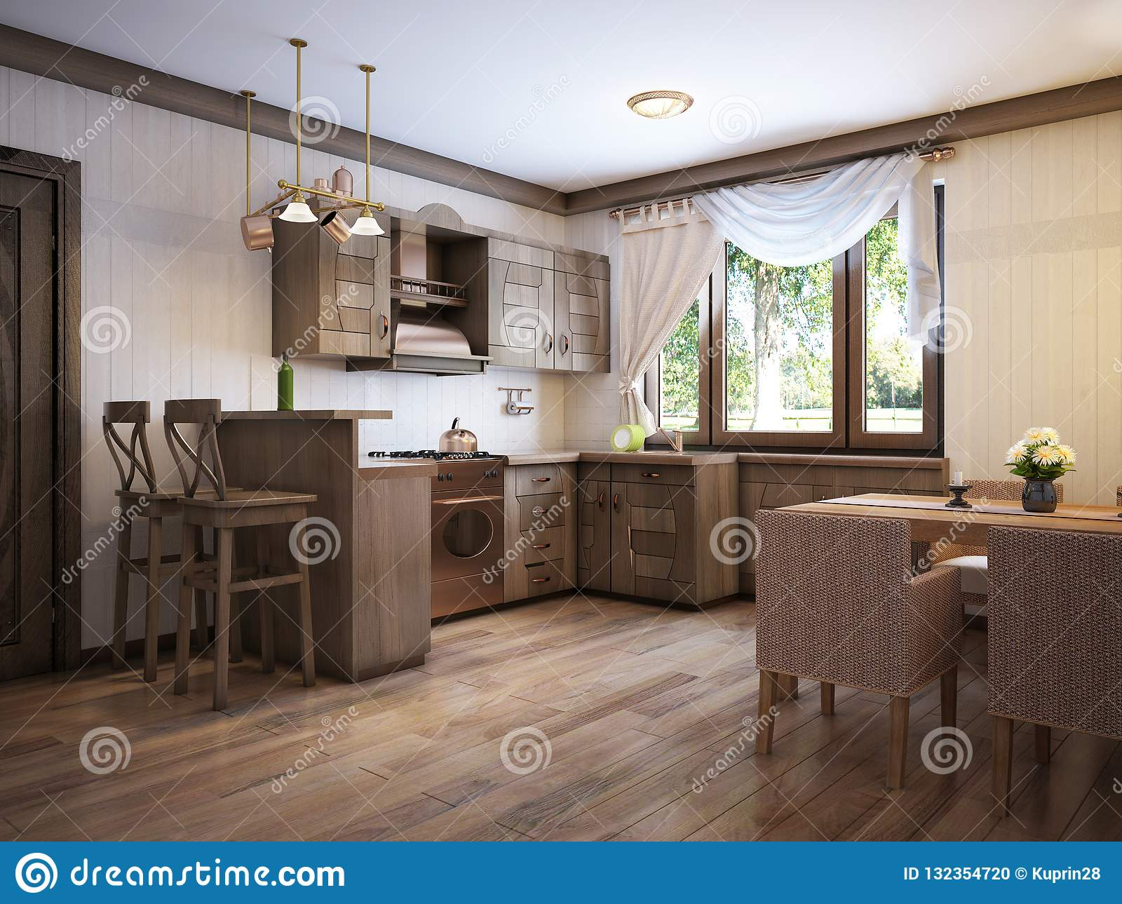 Kitchen rustic style with a dining table and wooden furniture