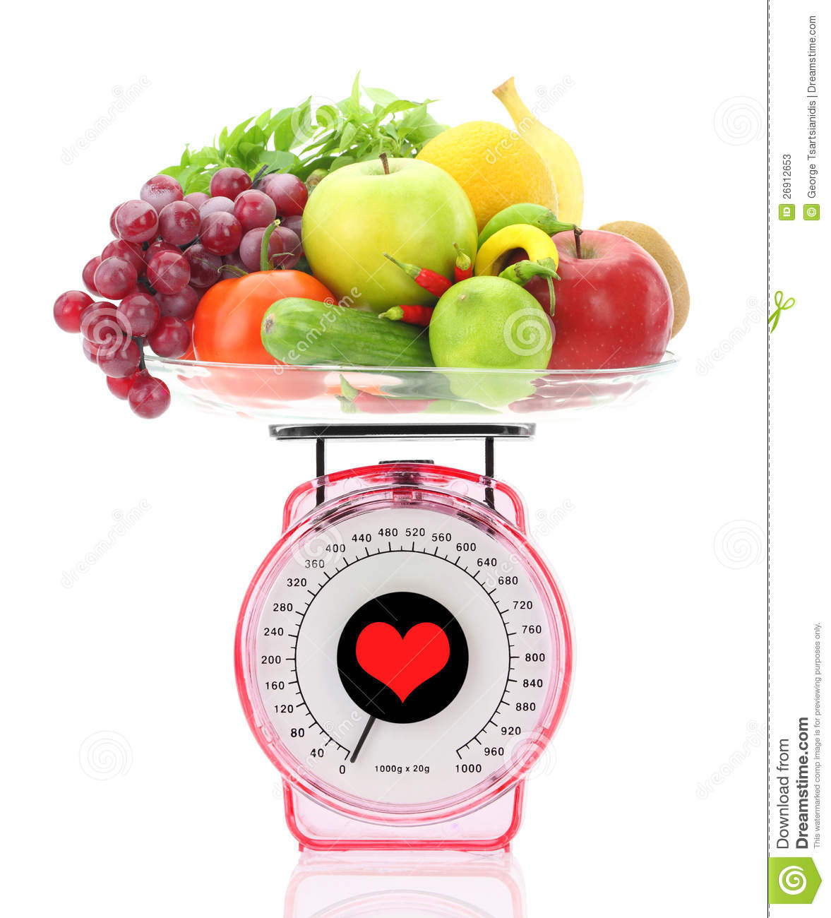 Kitchen Scale With Fruits And Vegetables Stock Photos ...