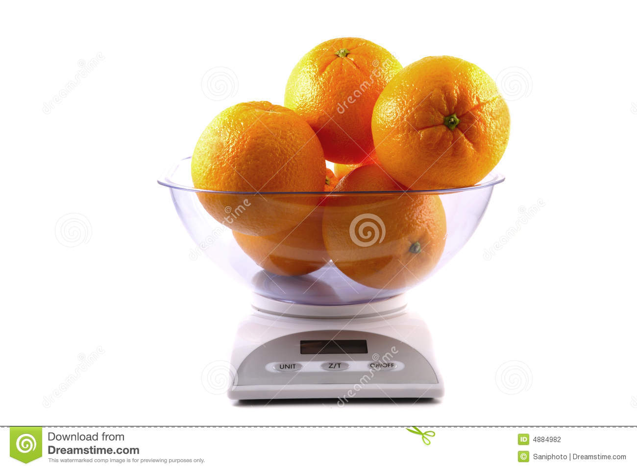 Kitchen Scale With Oranges Stock Photo  Image Of Weight