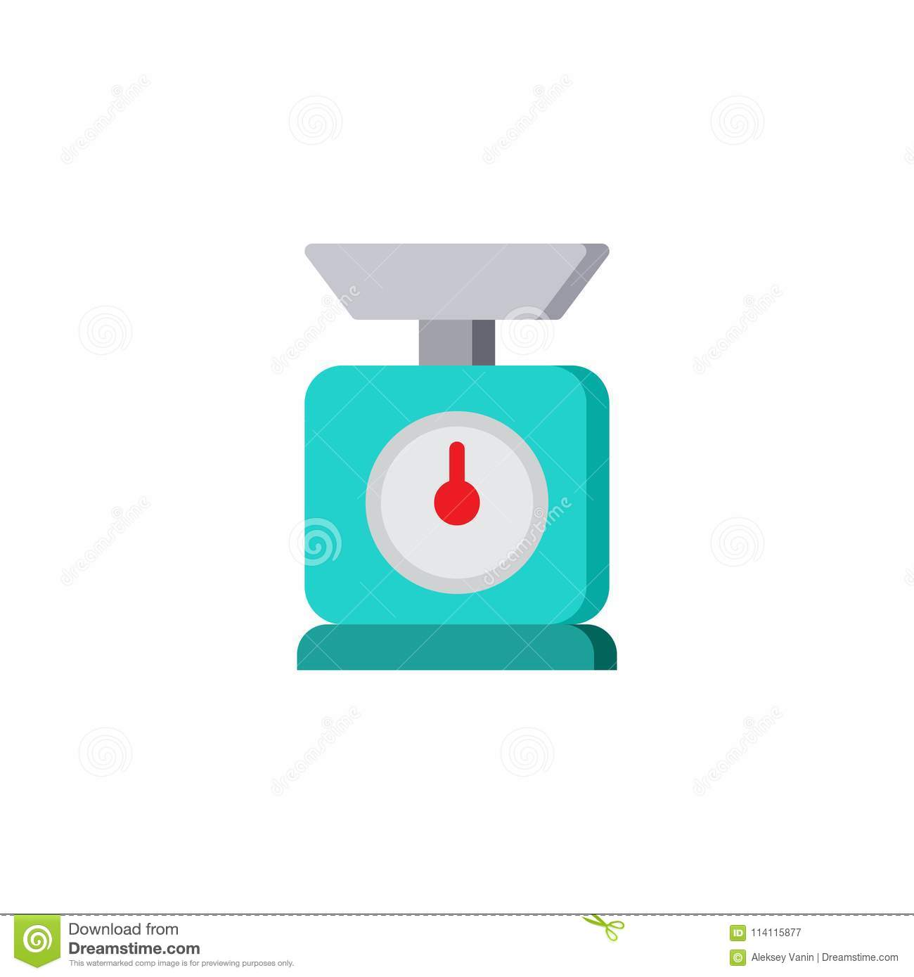Kitchen scales flat icon stock vector. Illustration of design ...