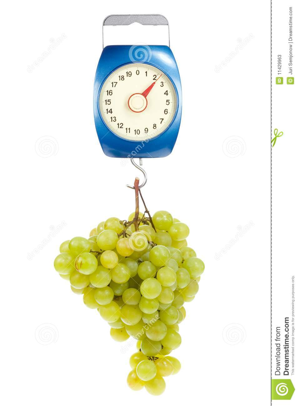 Kitchen scales and green grapes.