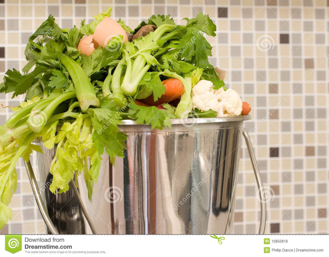 Kitchen scraps in a stainless steel bucket.