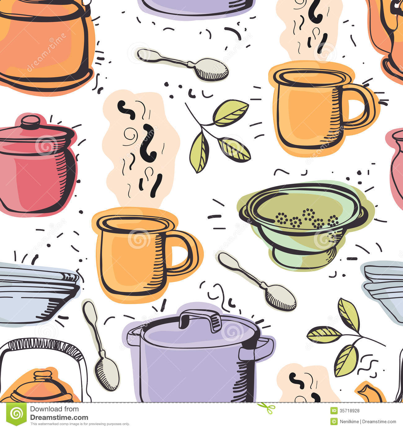 Kitchen seamless pattern royalty free stock photos image for Kitchen patterns and designs