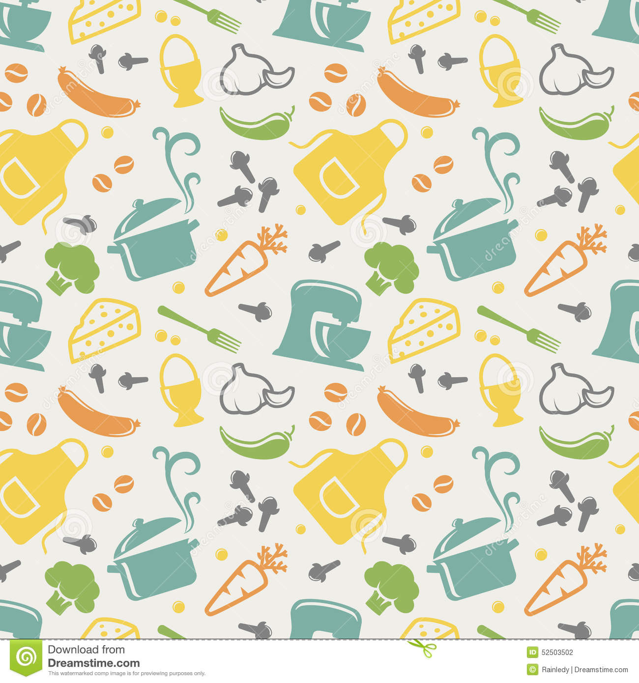 kitchen seamless pattern vector background stock vector