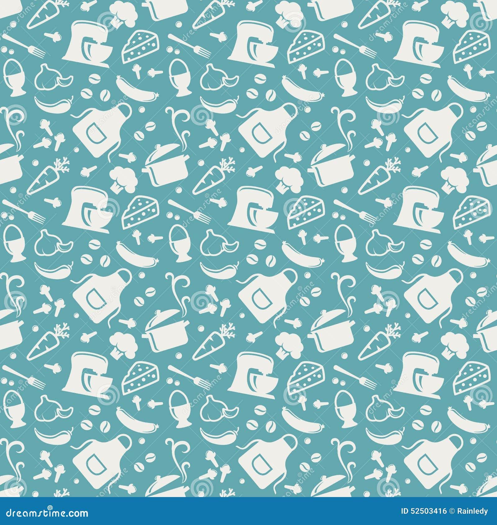 Kitchen Seamless Pattern. Vector Background. Stock Vector