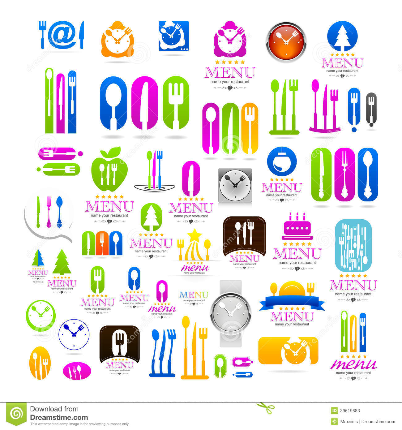 Kitchen Set Business Logo Web Icons Sign Stock Vector