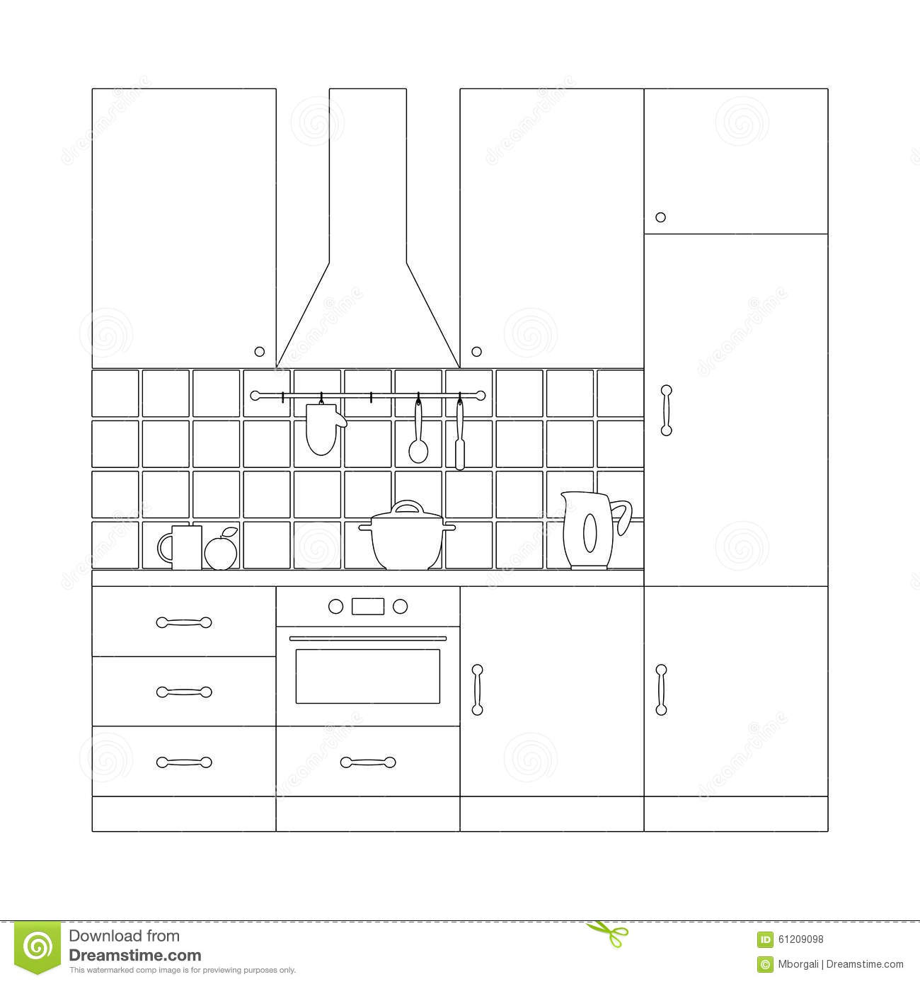 Royalty Free Vector Download Kitchen Set Coloring Page