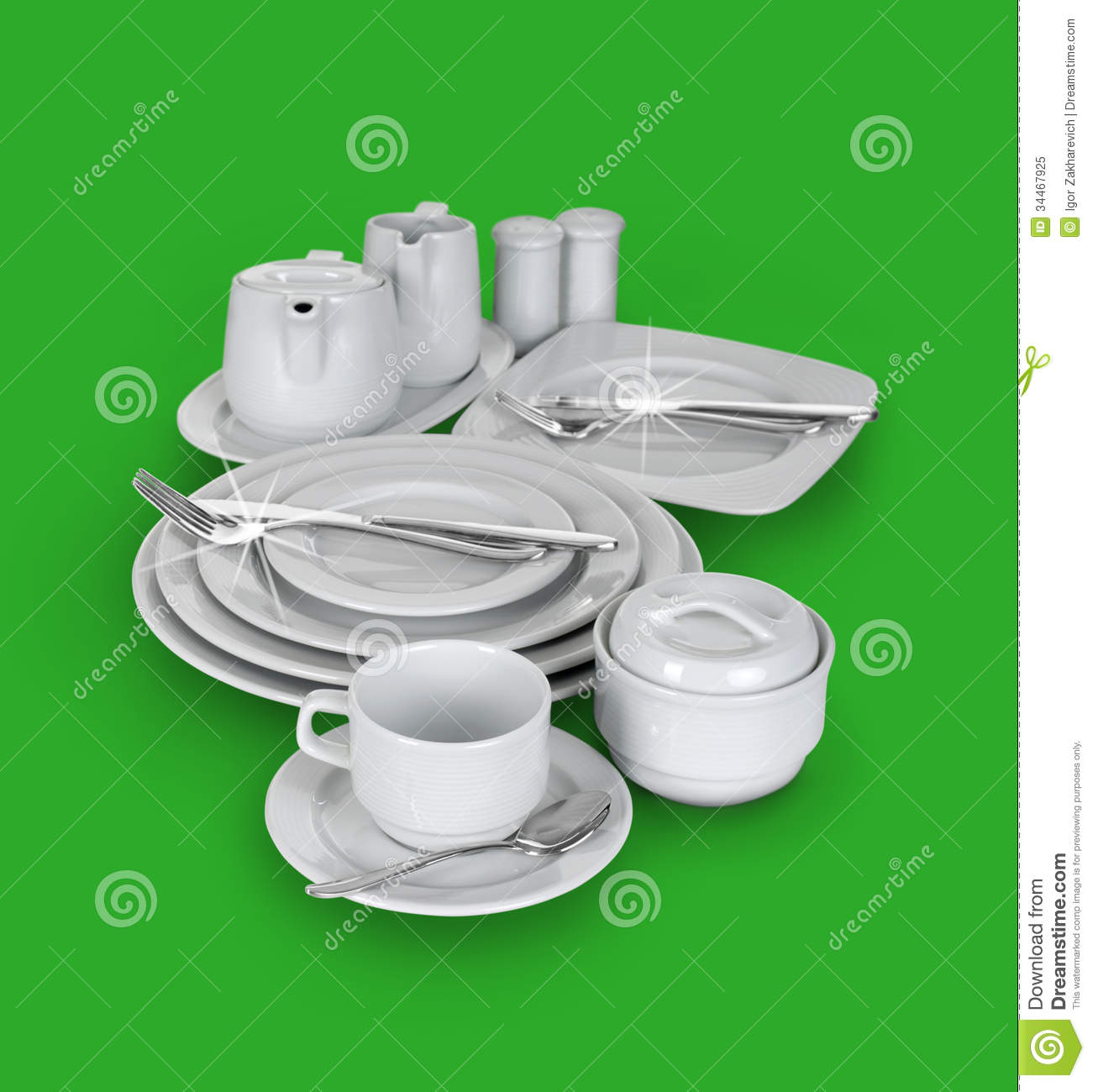Kitchen set of cups plates and glasses stock image for Kitchen set plates