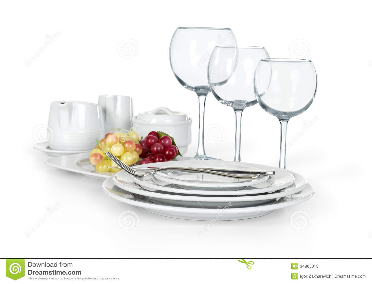 Kitchen Set Of Cups Plates And Jars Stock Image Image