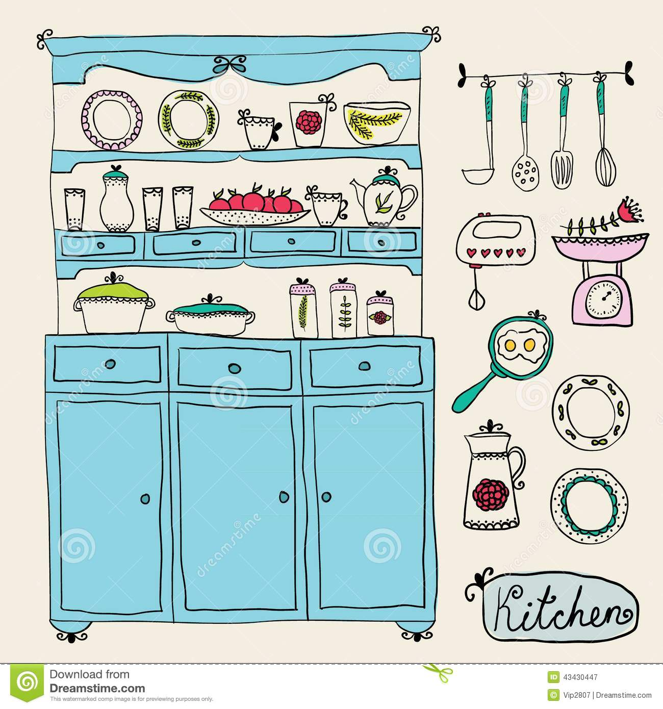 Kitchen Set In Design Elements Of Kitchen Stock Illustration Image 43430447
