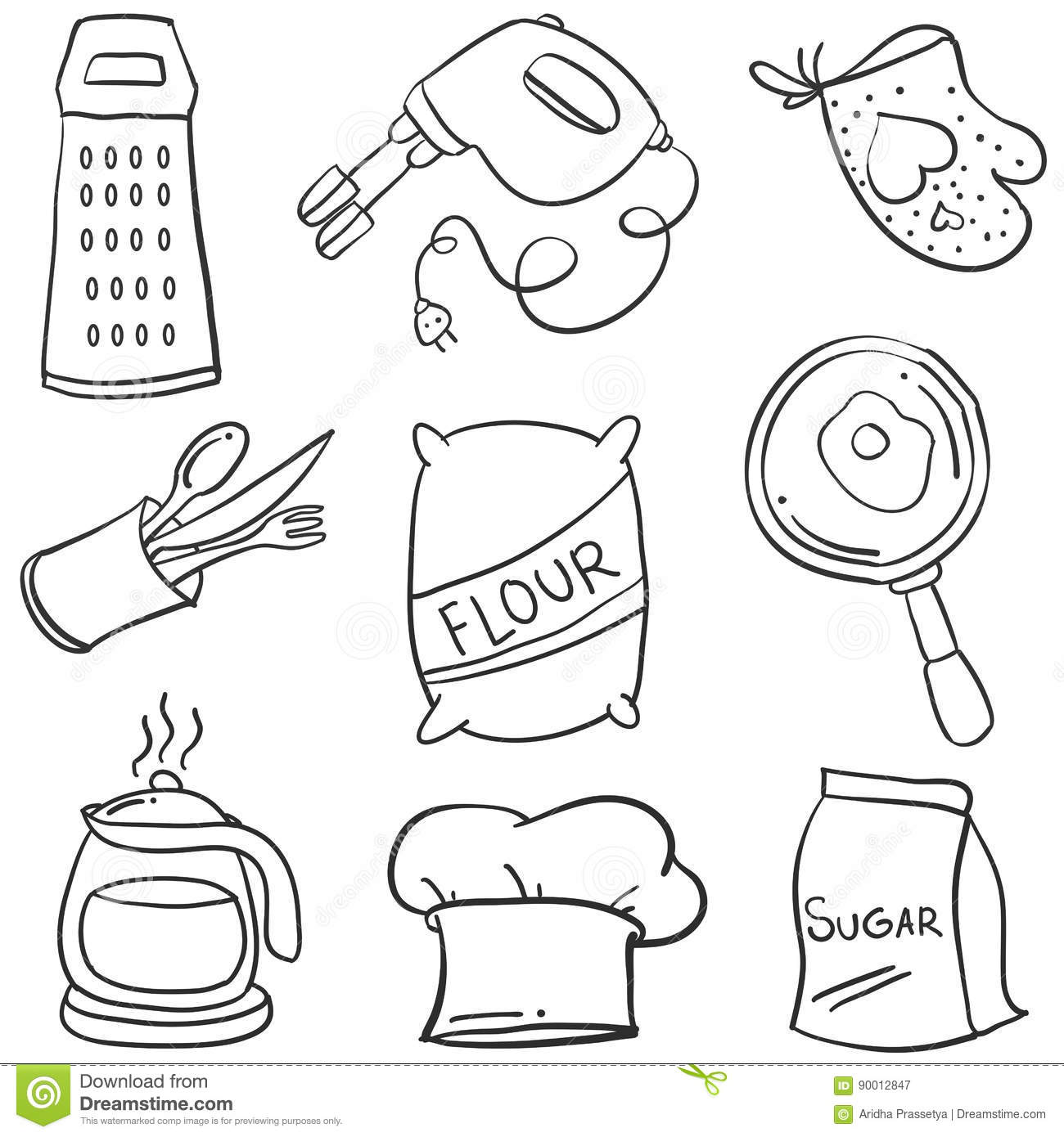 Kitchen Set Hand Draw Style Doodle Stock Vector Illustration Of