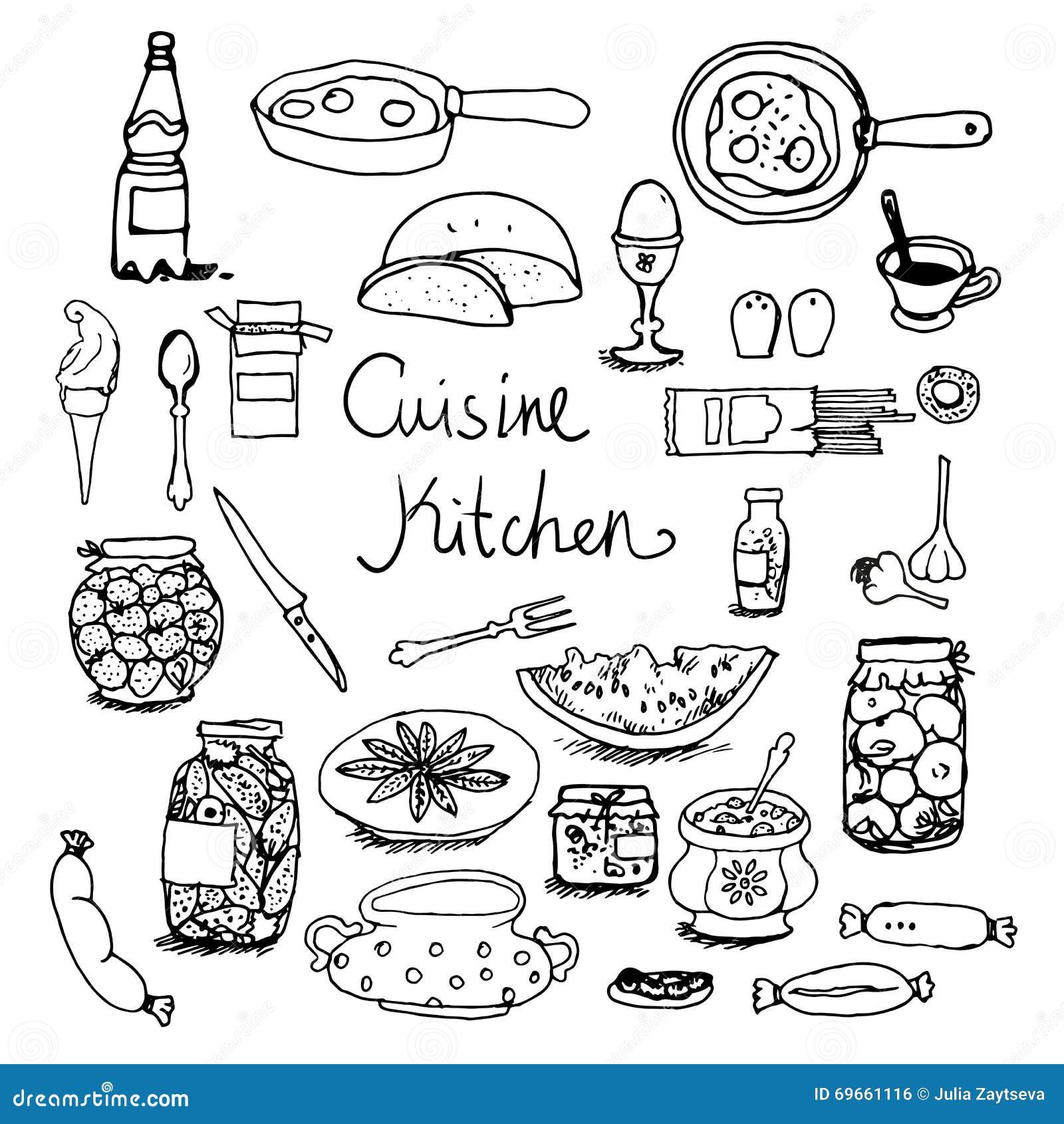 Kitchen Set Hand Drawn Line Sketches Stock Illustration