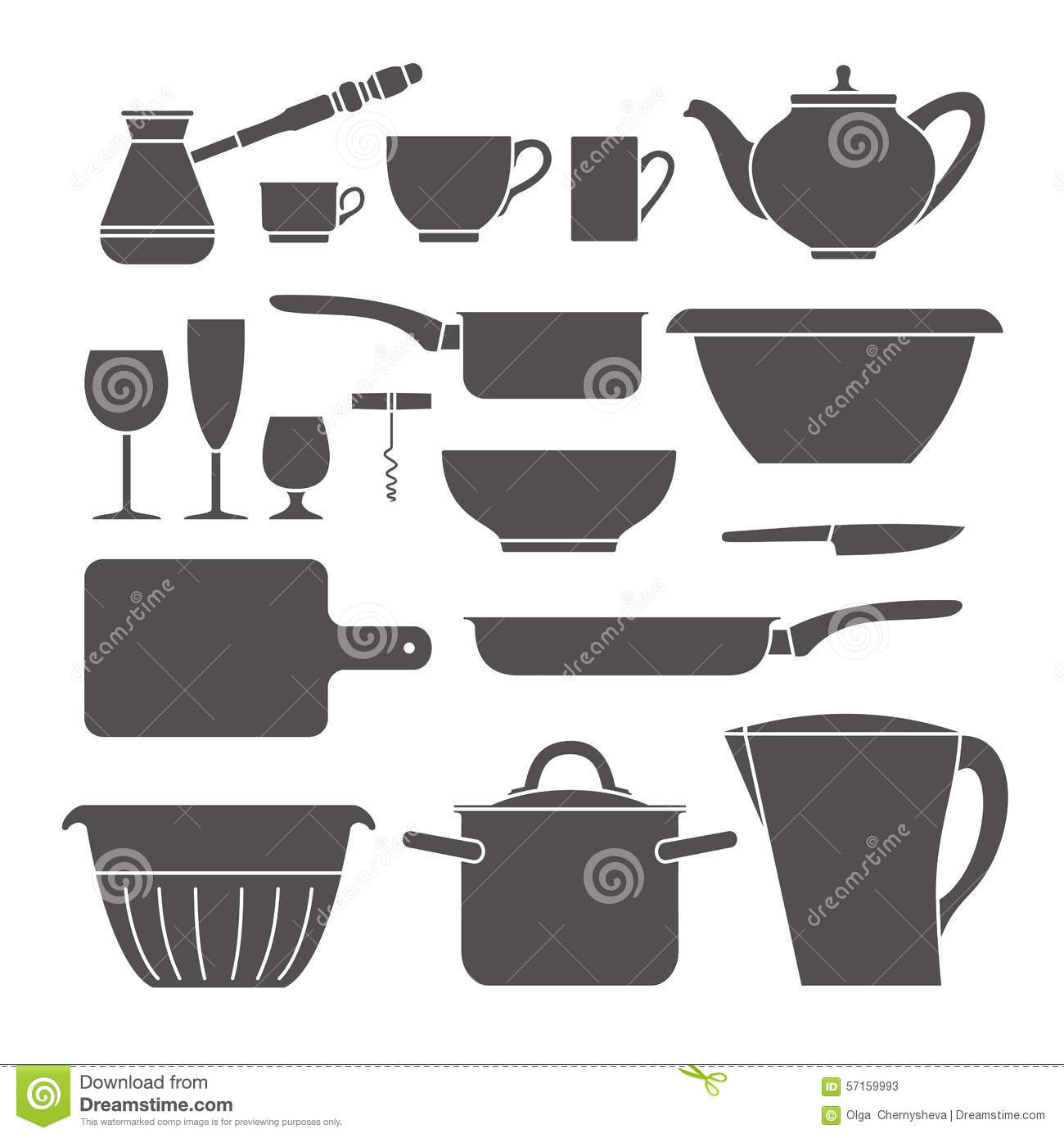 Kitchen Set Icon Stock Vector Illustration Of Kitchen 57159993