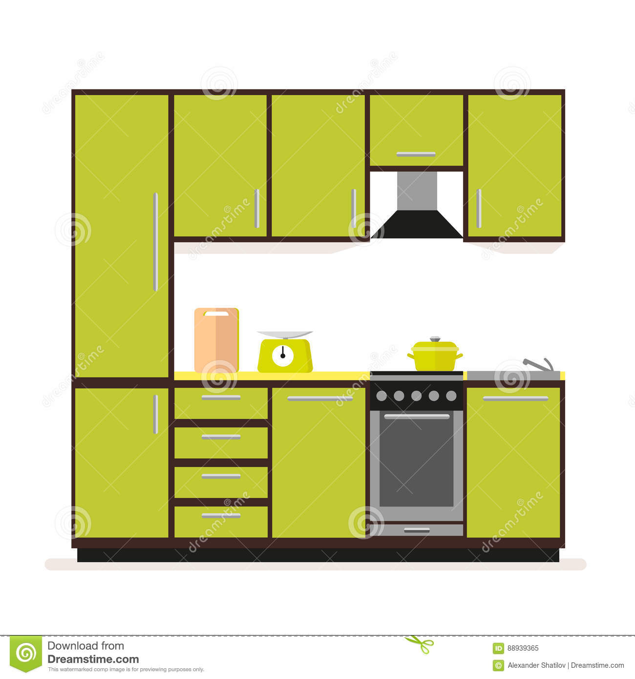 Kitchen Set Modern Kitchen Furniture In A Flat Style Isolated On