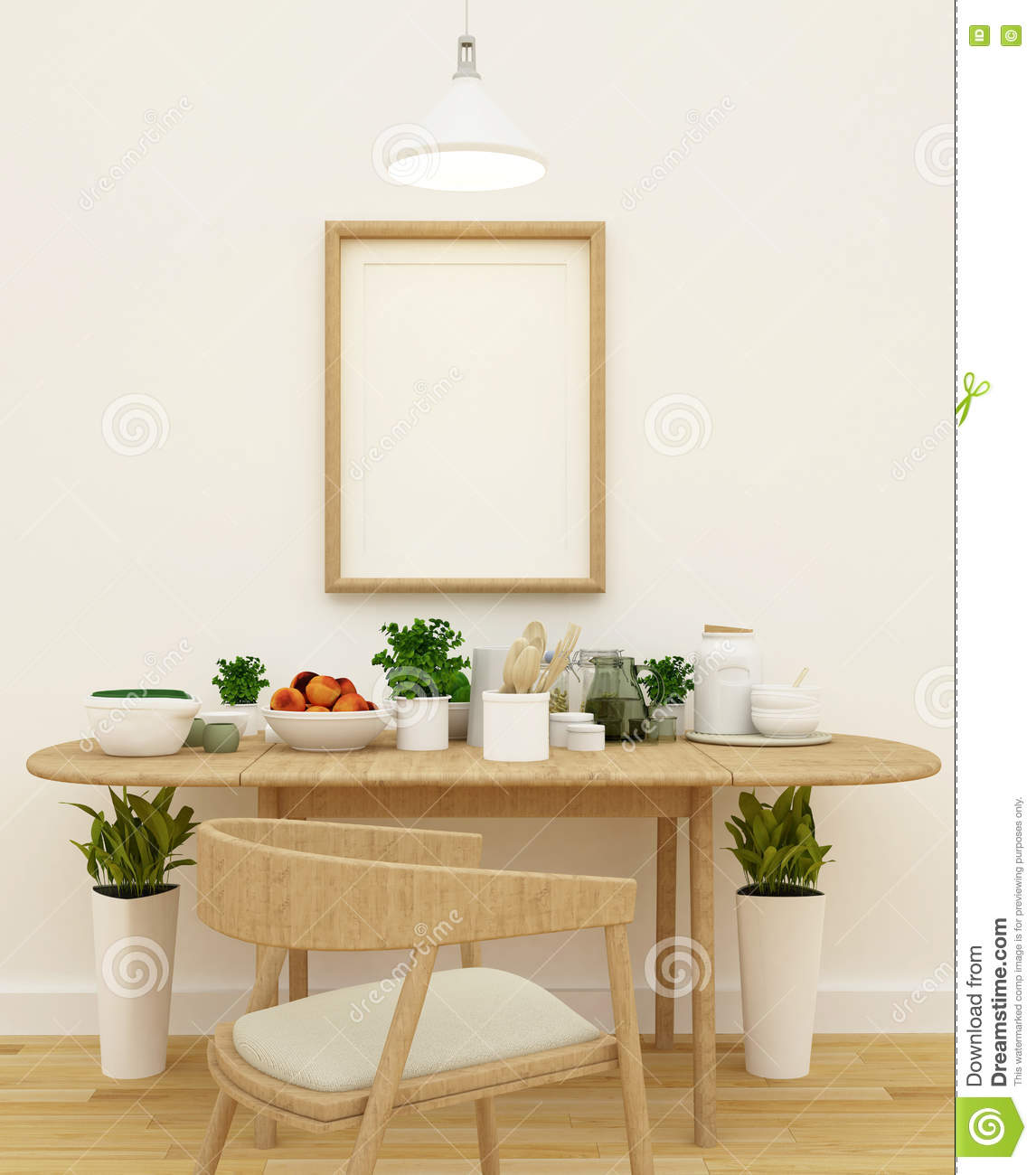 Kitchen Set In Pantry Area And Frame For Artwork 3d Rendering