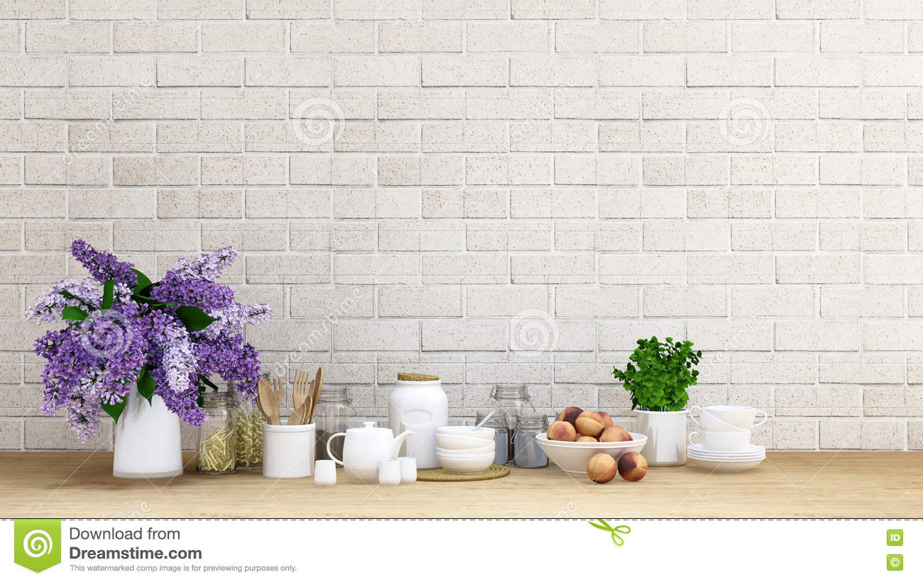 Kitchen Set With Purple Flower Background - 3D Rendering Stock ...