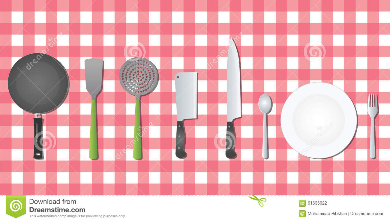 Kitchen set tools utensil on table stock vector image for Kitchen set vector