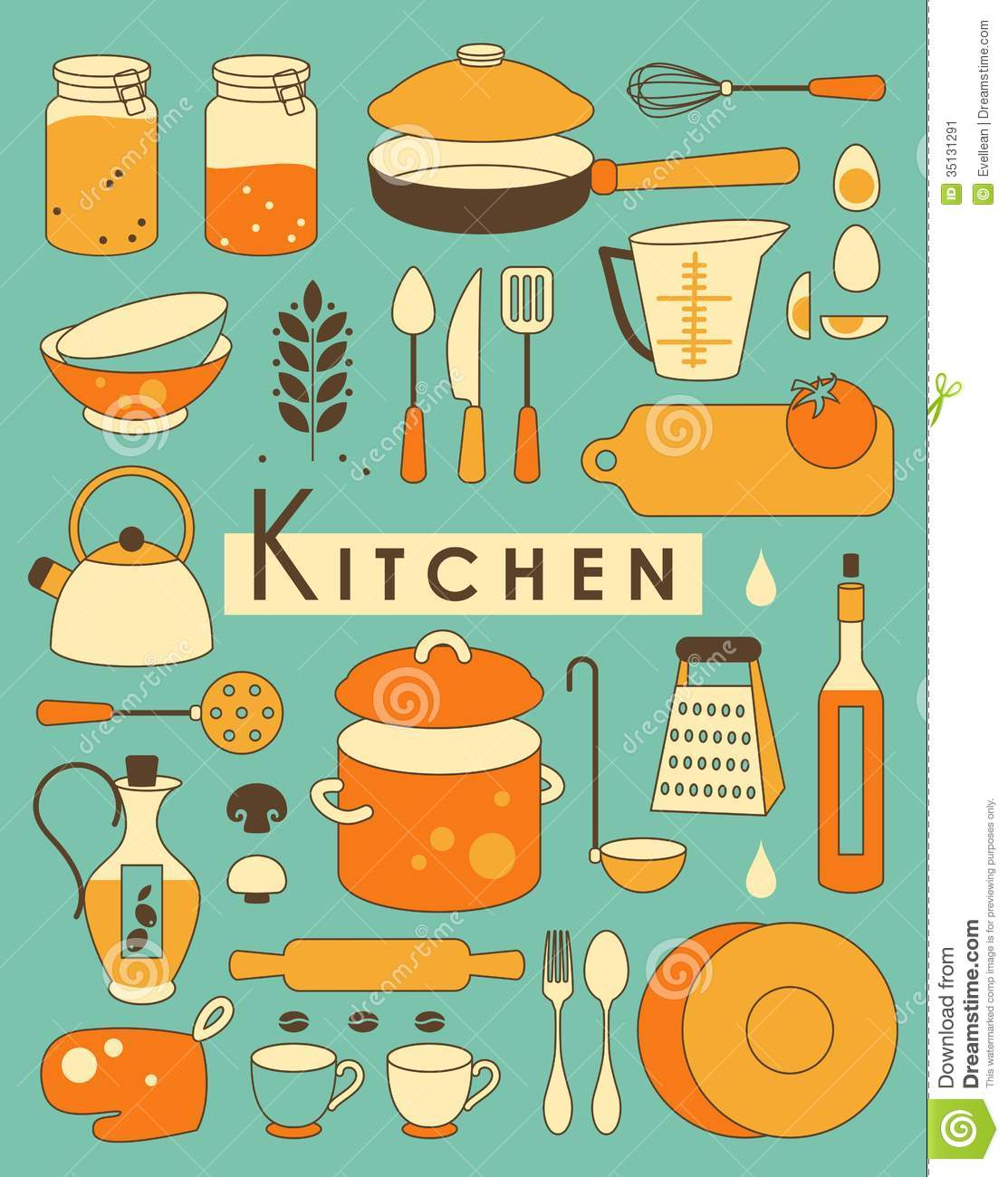 Retro Kitchen Illustration: Kitchen Set Stock Vector. Illustration Of Food, Design