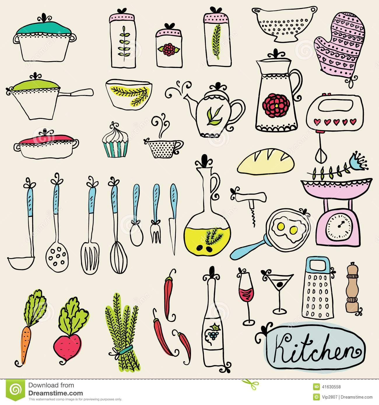 Kitchen Set In Vector Stylish Design Elements Of Kitchen Stock Vector Image 41630558