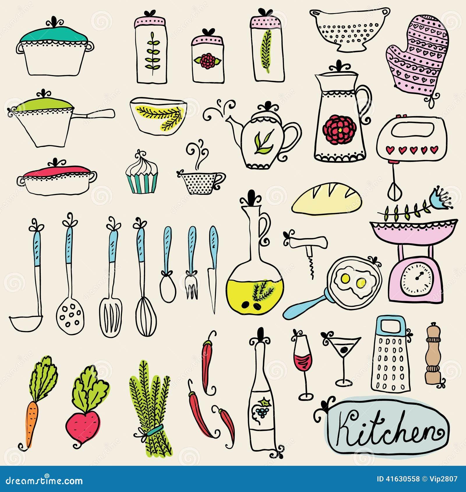 Kitchen Set In Vector Stylish Design Elements Of Kitchen Stock Vector Illustration 41630558