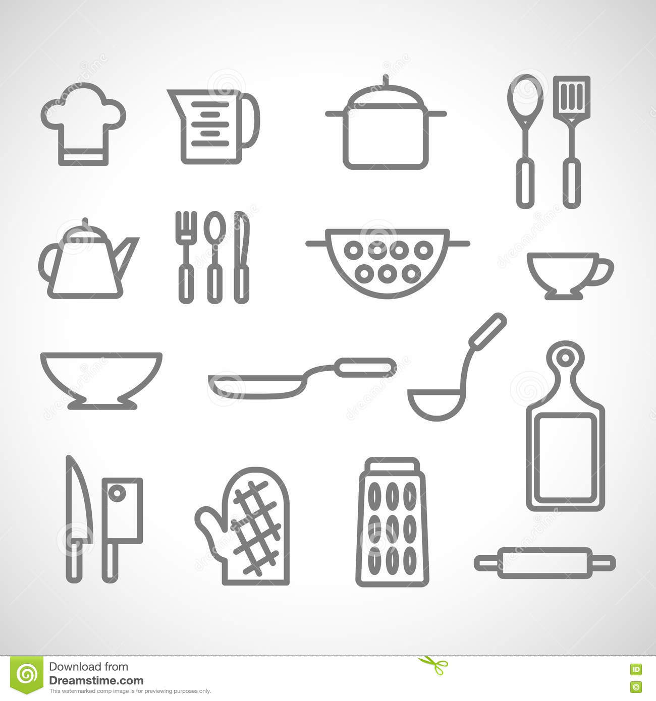 Kitchen set on white background stock vector image for Kitchen set vector