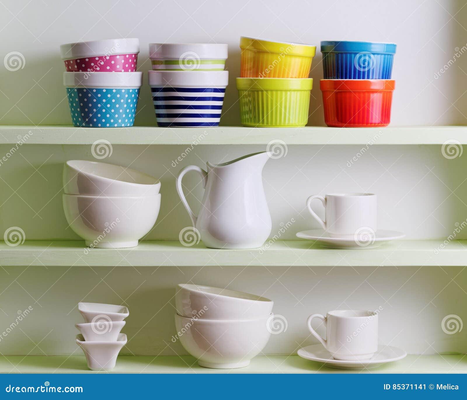 Kitchen Shelf Arrangement: Kitchen Shelf Arrangement. Stock Image. Image Of Coffee