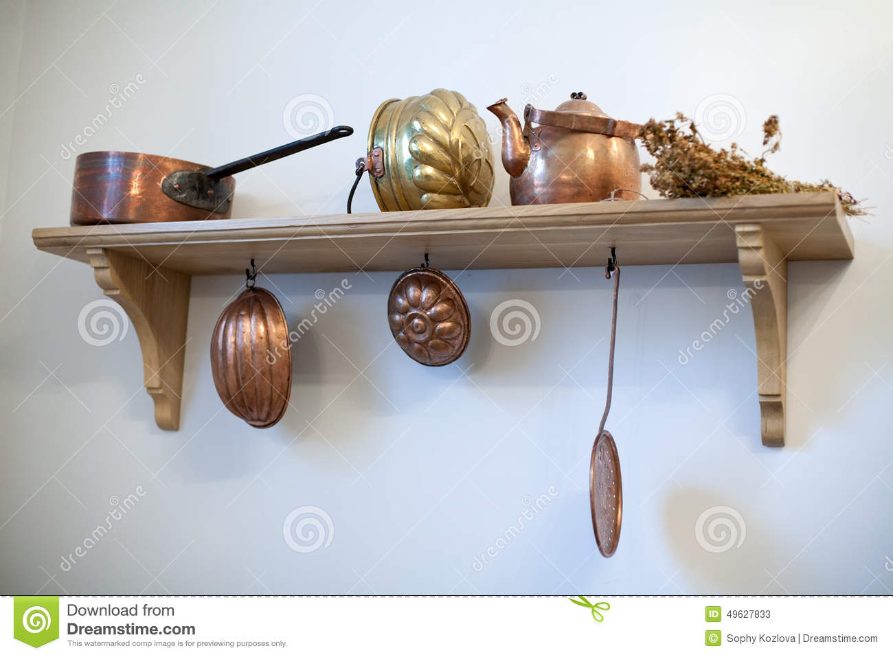 Kitchen shelf with old copper utensils stock photo image 49627833 - Fabriquer rangement mural ...