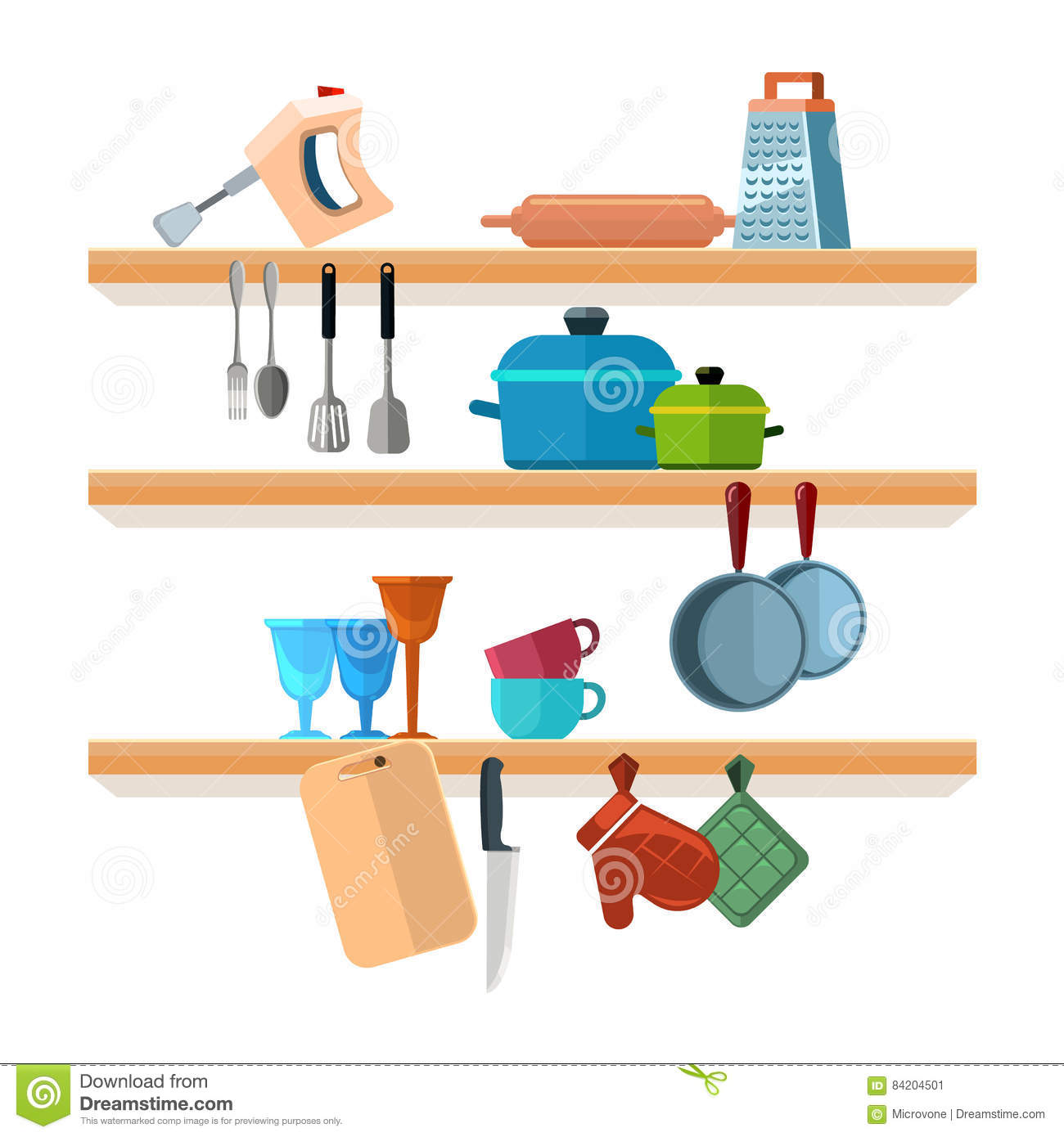 Kitchen Equipment Cartoon ~ Vector illustration of kitchen tools for cooking cartoon