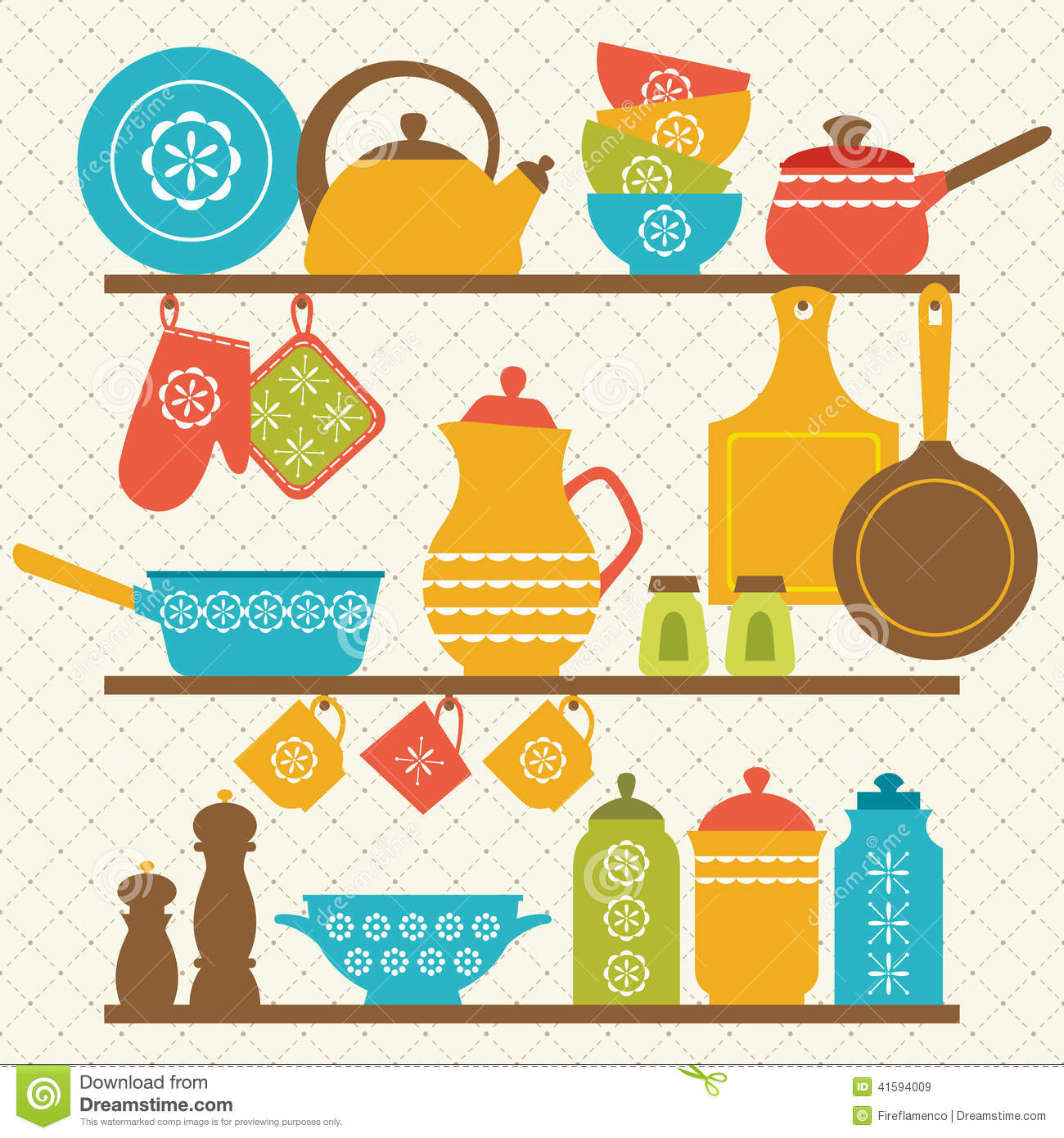 Kitchen Shelves Stock Vector