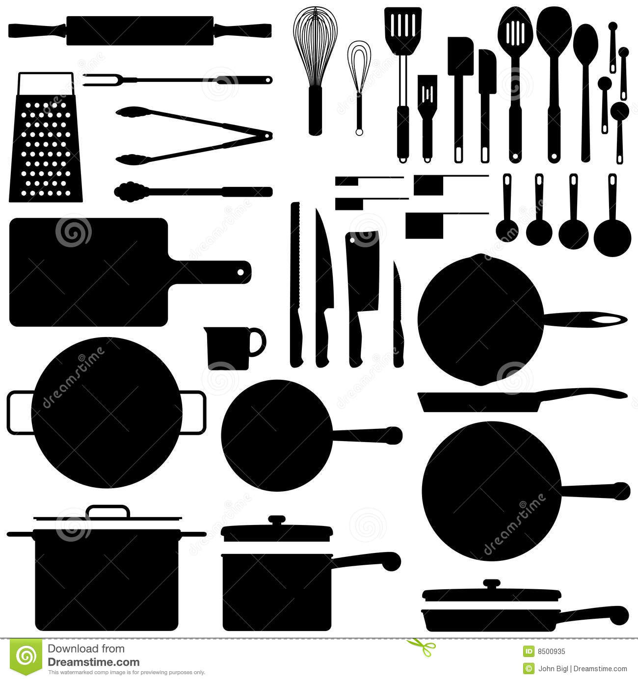 Kitchen Silhouettes Stock Vector Illustration Of Stew
