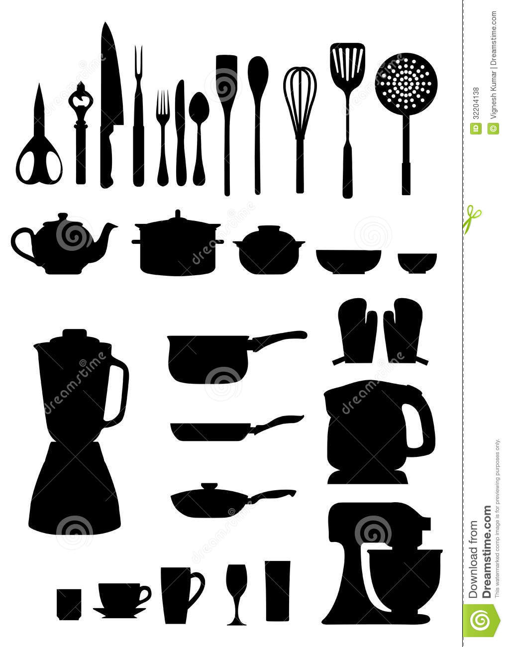 Kitchen silhouettes stock vector. Image of food, group ...