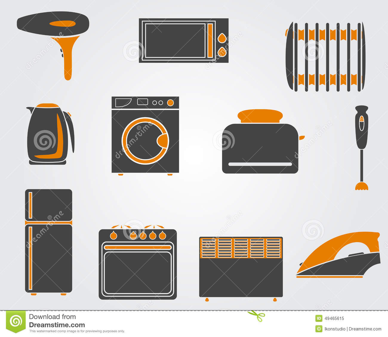 Kitchen simple icons stock vector image of machine for Simple kitchen set