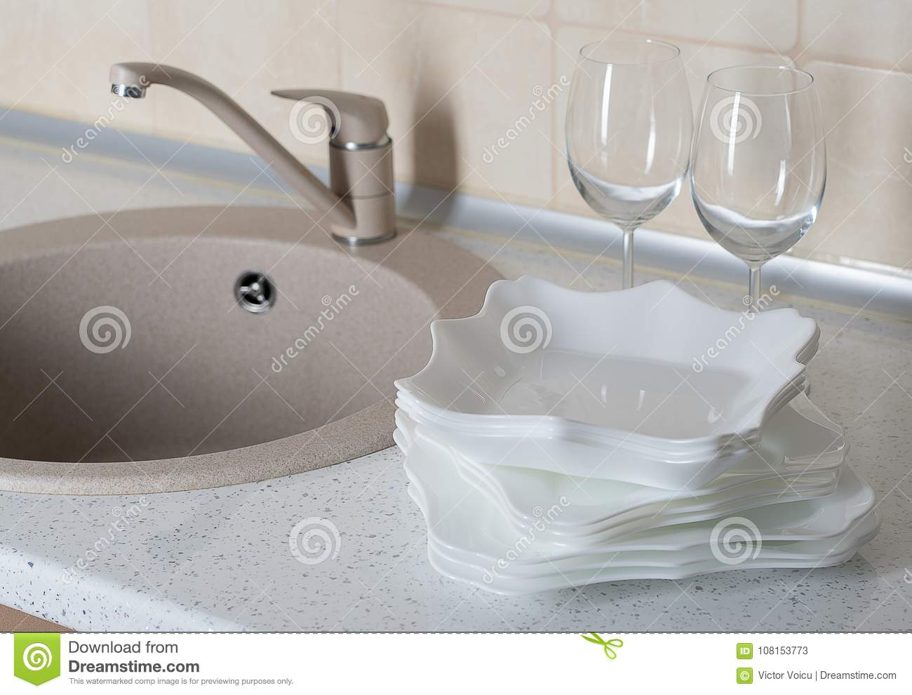 Kitchen Sink With Clean Dishware Stock Image Image Of Dishware