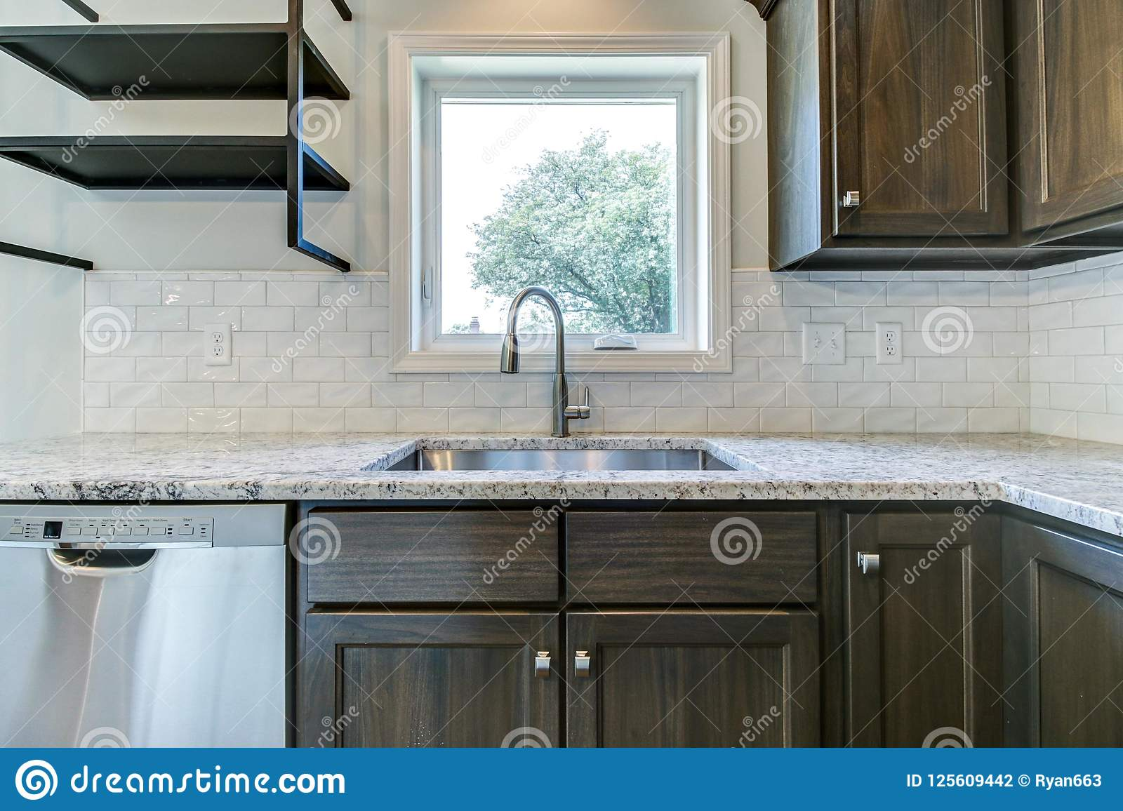 Kitchen Sink With Subway Tile Backspash Stock Photo Image Of Construction Iowa 125609442