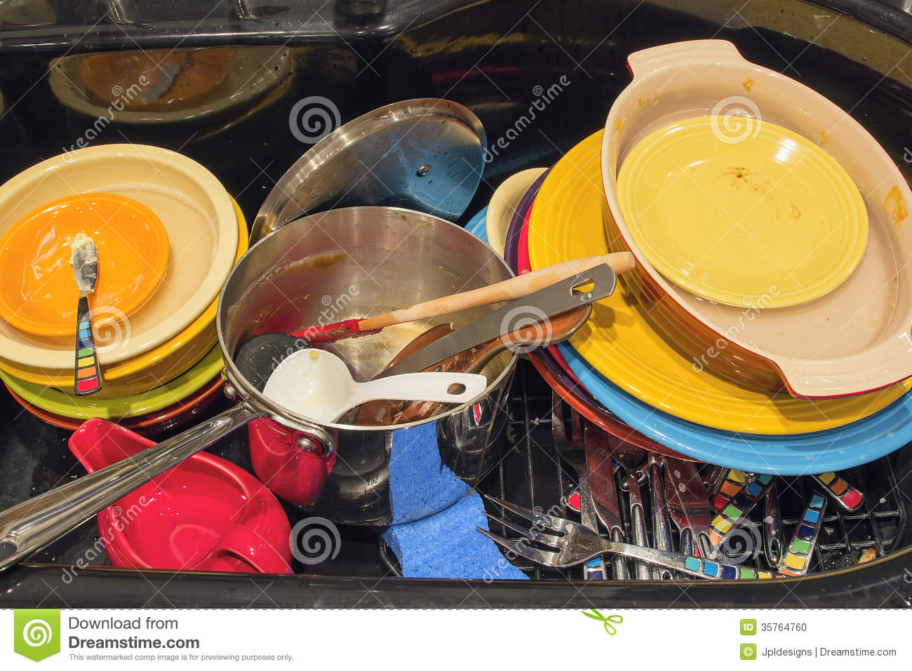 Kitchen Sink With Dishes kitchen sink with dirty dishes utensils and pot stock photo