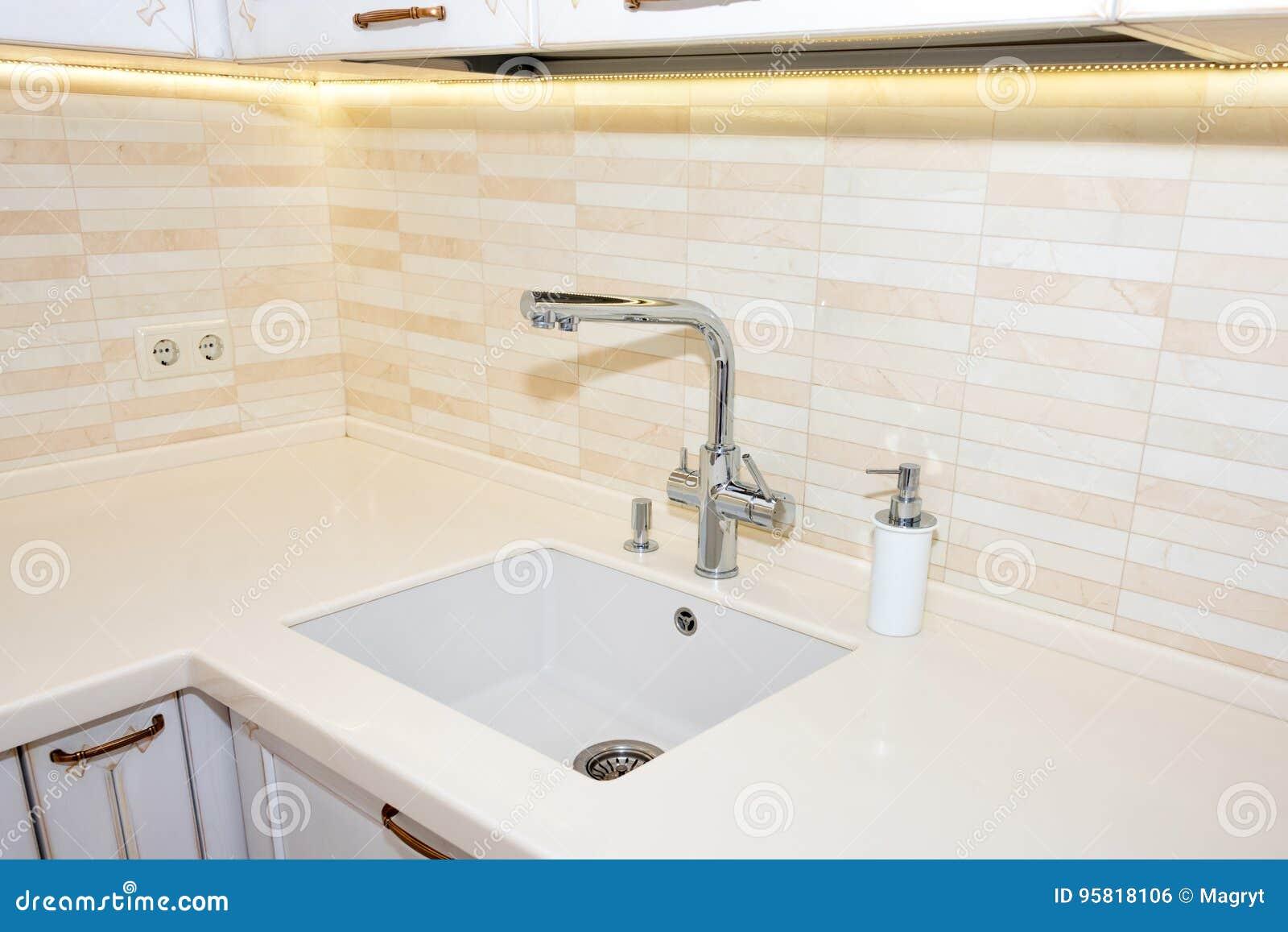Kitchen Sink And Faucet Modern Bright Clean Kitchen Interior