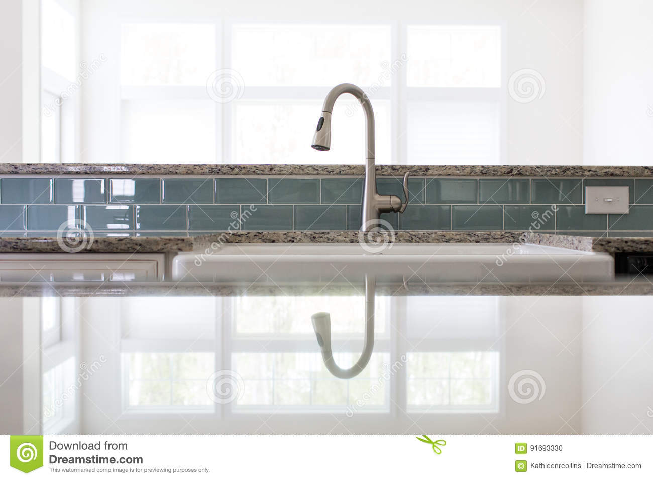 - Kitchen Sink Faucet Stock Photo. Image Of Countertop - 91693330