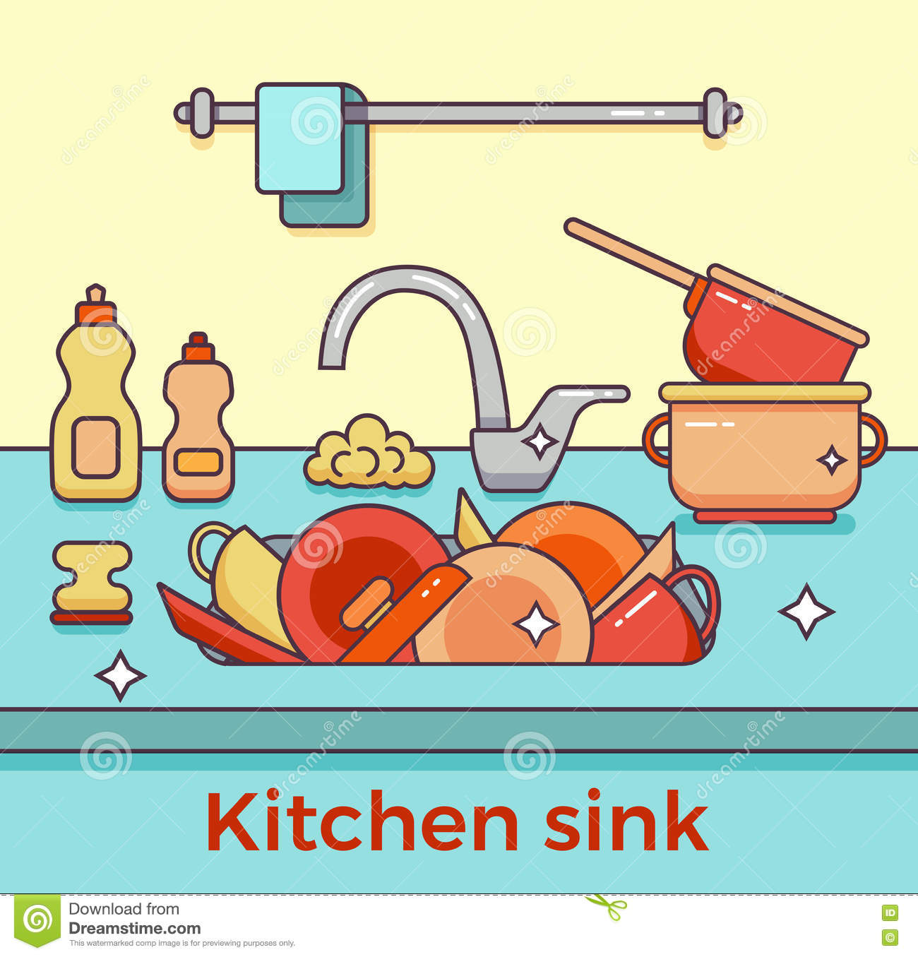 Cartoon Kitchen Sink ~ Kitchen sink with kitchenware vector illustration