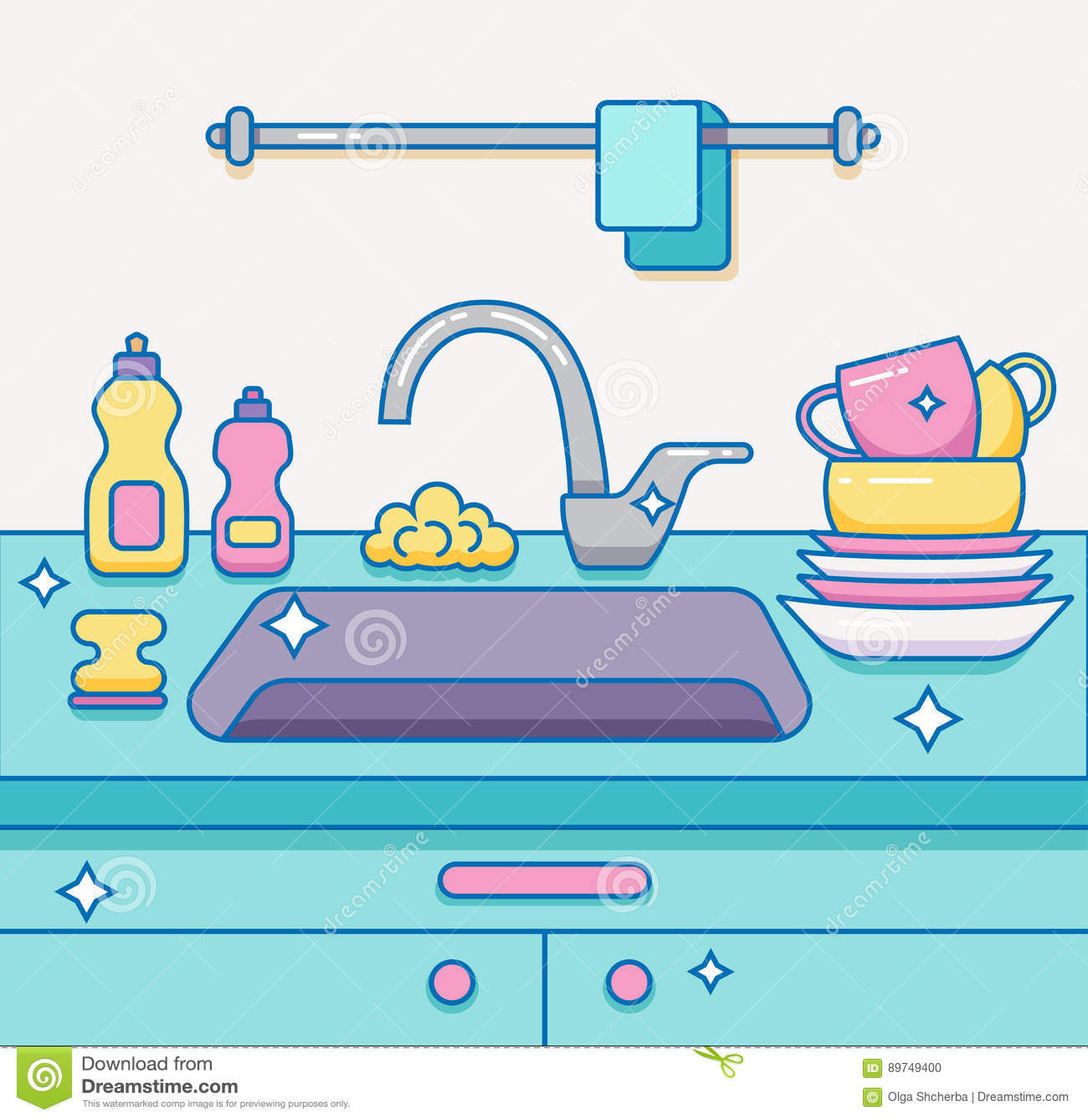 Kitchen Sink With Kitchenware, Stock Vector