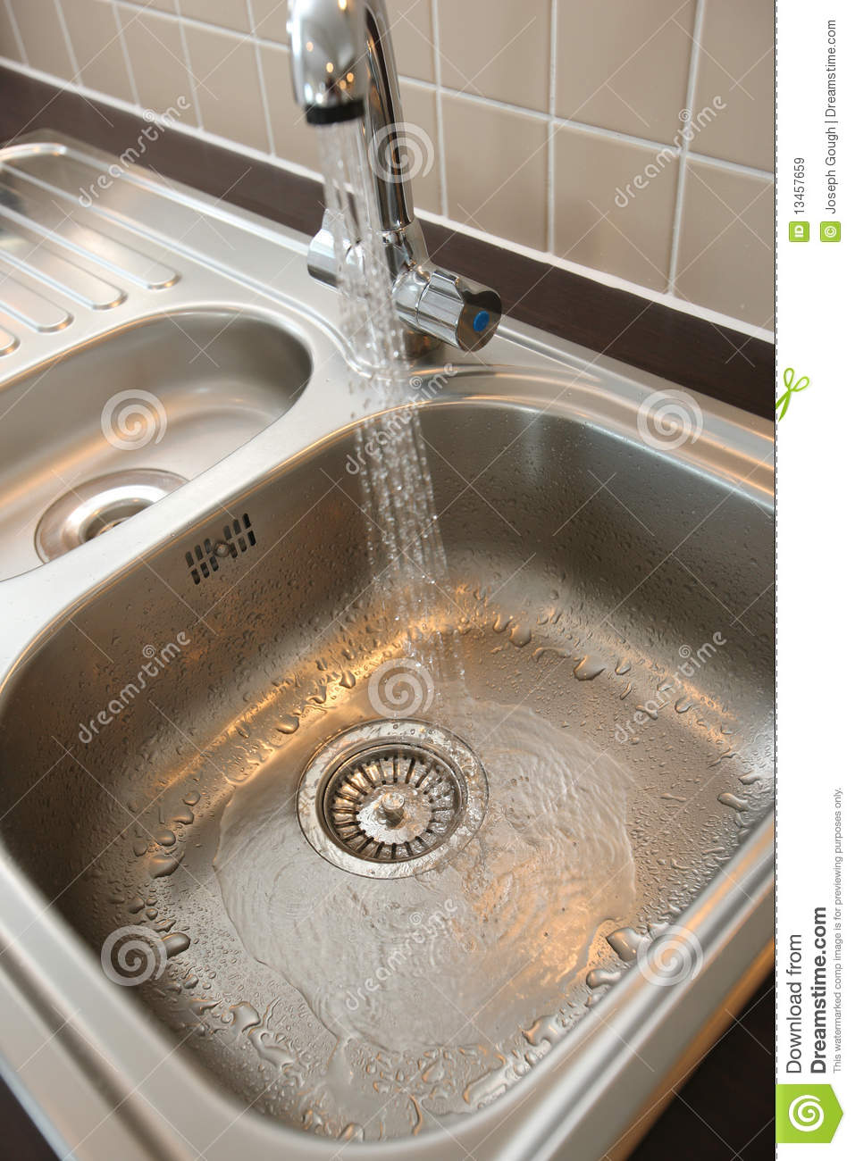 Kitchen Sink With Running Water Royalty Free Stock Images ... Sink With Water